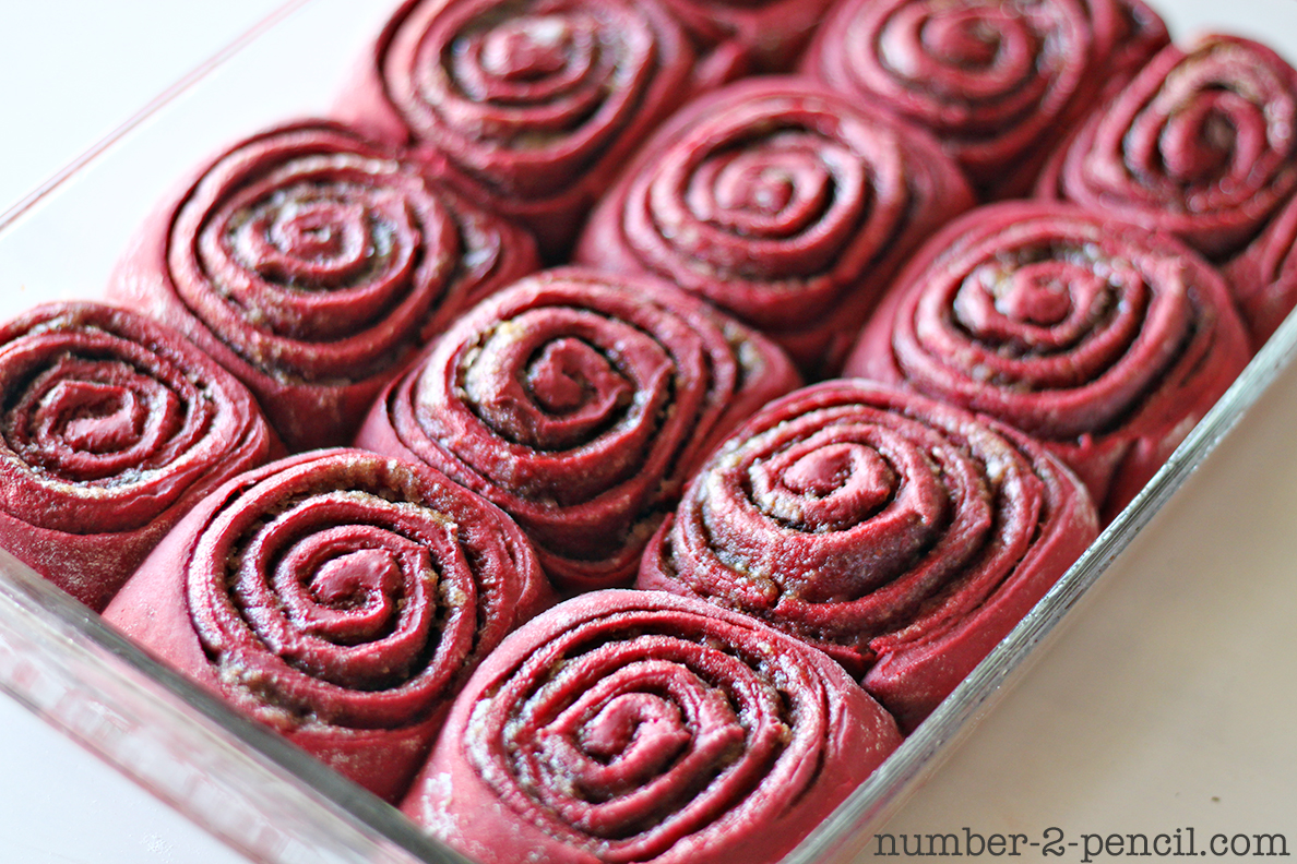 ... Red Velvet Cinnamon Rolls. Spread it on while the rolls are still warm
