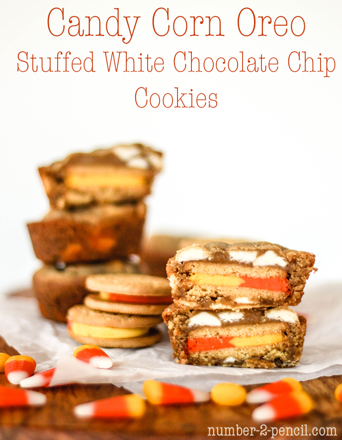 Candy Corn Oreo Stuffed White Chocolate Chip Cookies - No. 2 Pencil